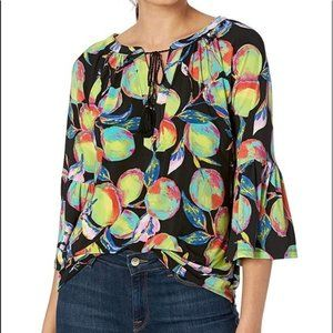 Pappagalo The Kelsi Multi Colored Bell Sleeve Top